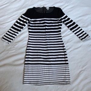 Dynamite white/black stripped dress body hugging